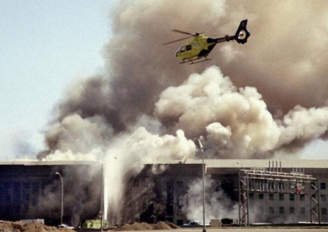 The Pentagon smolders on 9/11.