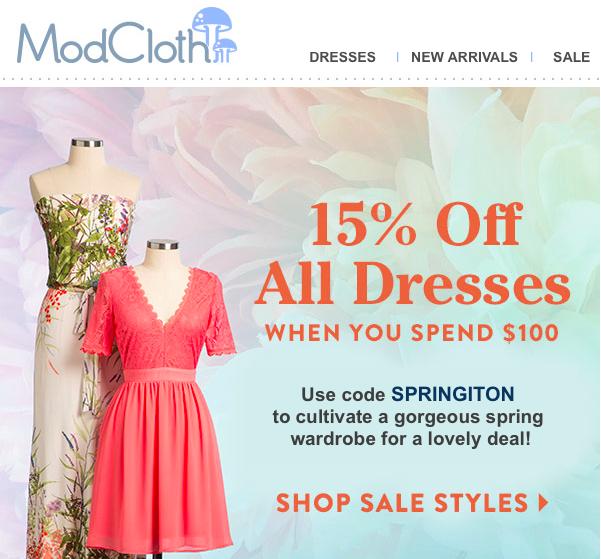 ModCloth 15% off sale