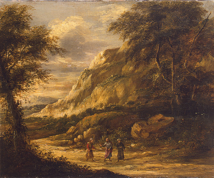 "Roghman Roelant landscape, ""Christ on the Road to Emmaus,""  1650-1660"