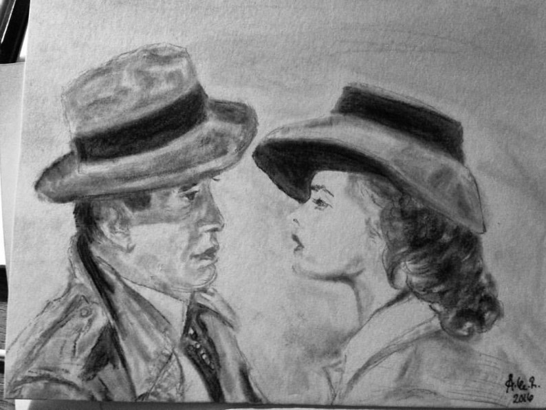 My sketch of a famous Casablanca two shot.